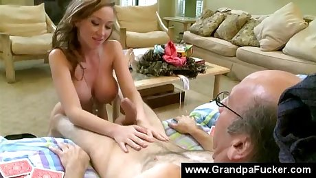 Teen gives old man a blowjob