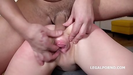 Alexa Flaxy gets 2on1 Anal and DP with rough sex, manhandle, gapes, Facial GL